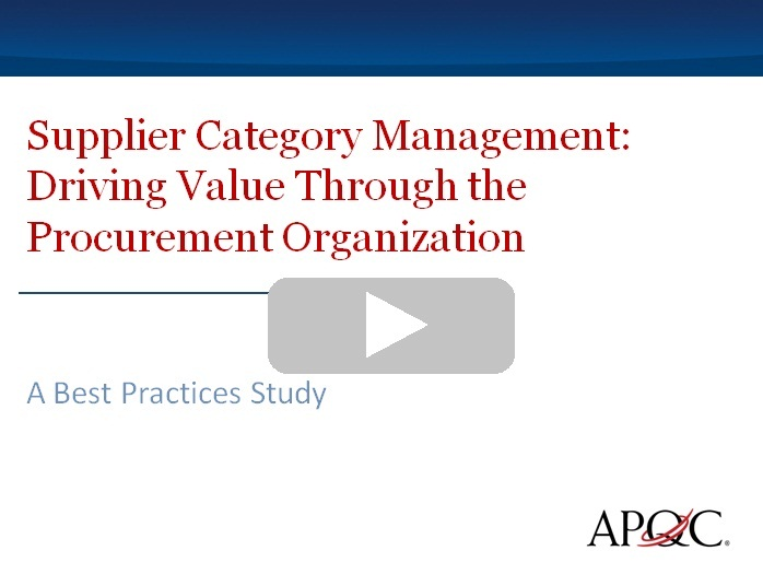 Learn more about the Supplier Category Management Study