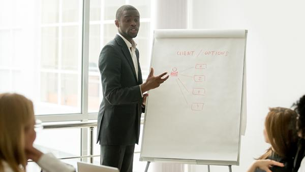 business man presenting to a group with a flip chart