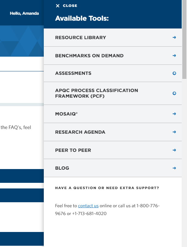 A picture of the APQC toolbar