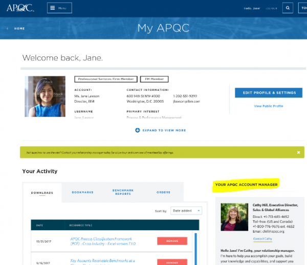 This is a screenshot of your My APQC page where you can locate the account manager