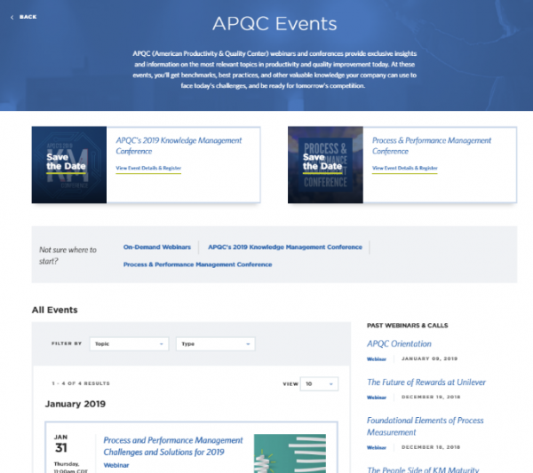 Picture of the APQC Events Page